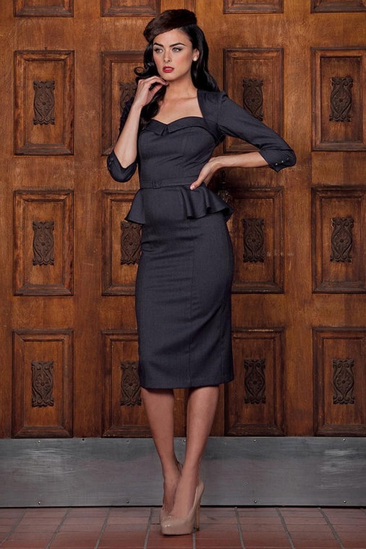 50s Cassandra Peplum Dress Midnight Blue