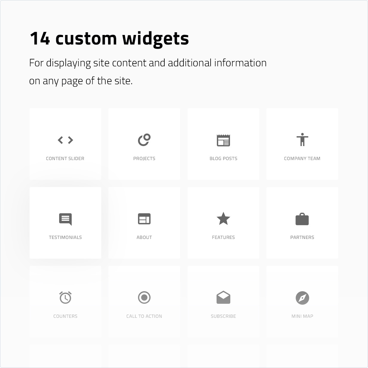 14 custom widgets for displaying site content and additional information on any page of the site