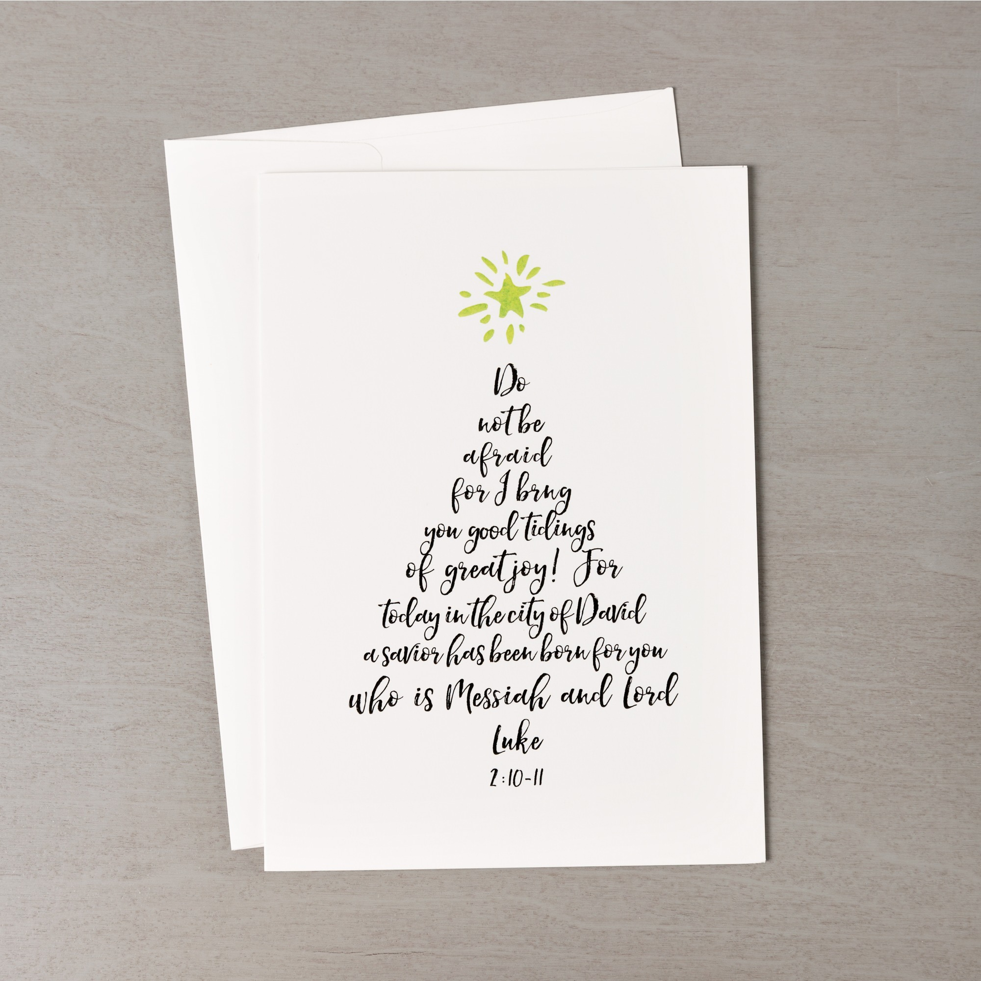Christmas Tree Calligraphy Greeting Cards