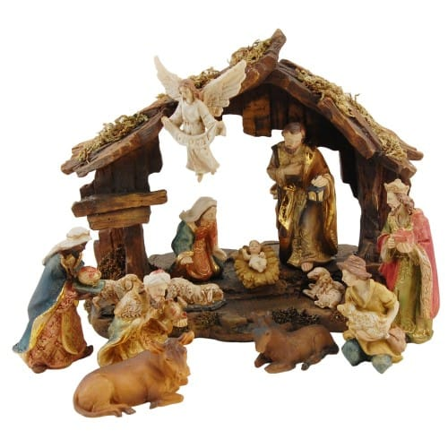 13 Piece Resin Nativity With 8 Inch Creche The Catholic