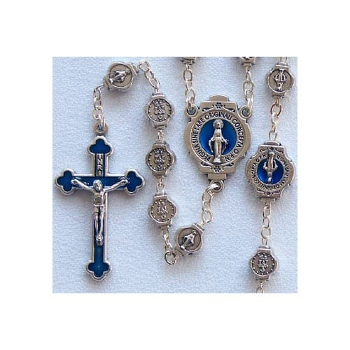Blue Accent Miraculous Medal Rosary