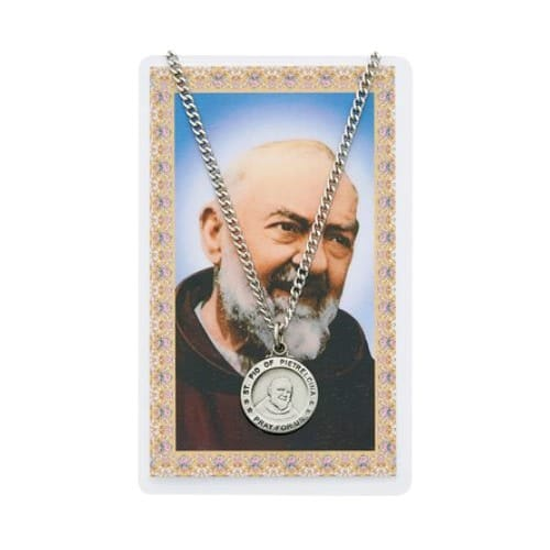 St. Pio Patron Saint Prayer Card w/Medal