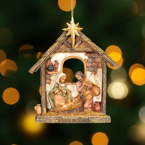 Fontanini Holy Family Stable Ornament The Catholic Company