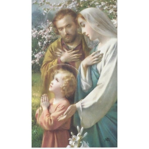 Holy Family Personalized Prayer Cards Priced Per Card