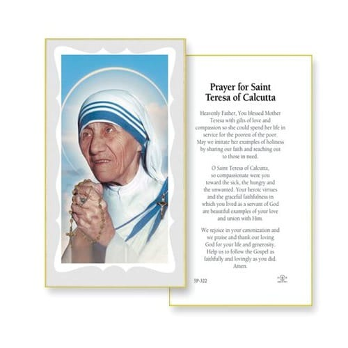 Mother Teresa Of Calcutta Prayer Cards 100 Pack The