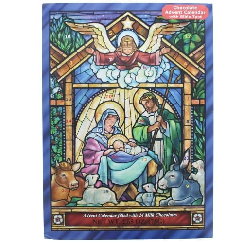 Stained Glass Nativity Advent Calendar With Chocolate