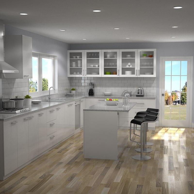 3D kitchen interior 1 model - TurboSquid 1165535 on Model Kitchens  id=12039