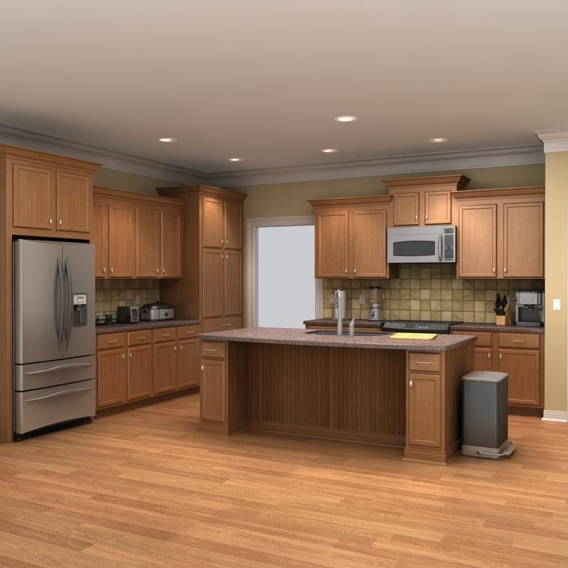 kitchen scene 3d model on Modern Model Kitchen  id=73071