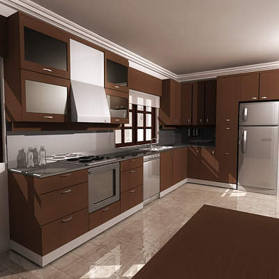 3d model kitchen on Model Kitchen Design  id=87819