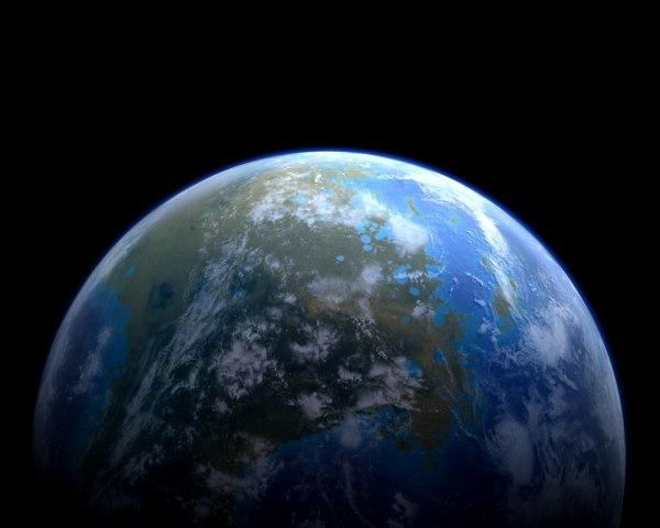 terraformed mars planet 3d c4d
