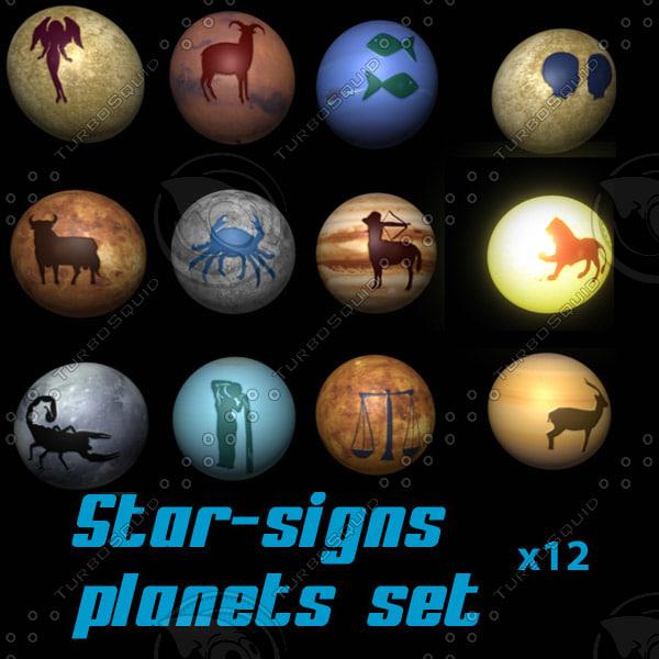 3d model signs zodiac planet star