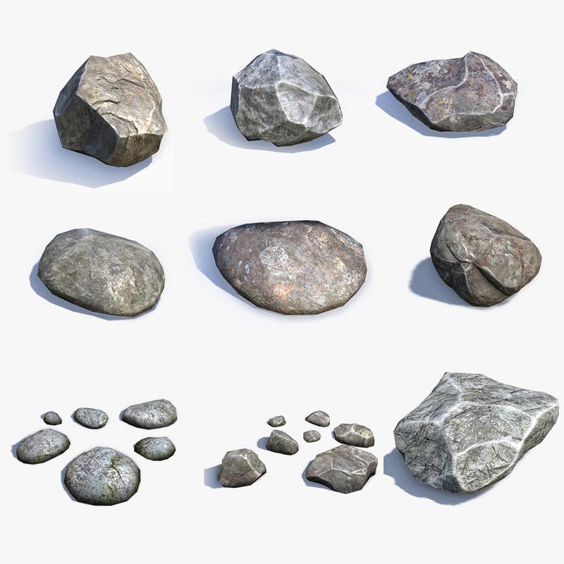 sets stones 3d model on Granite Models  id=78058