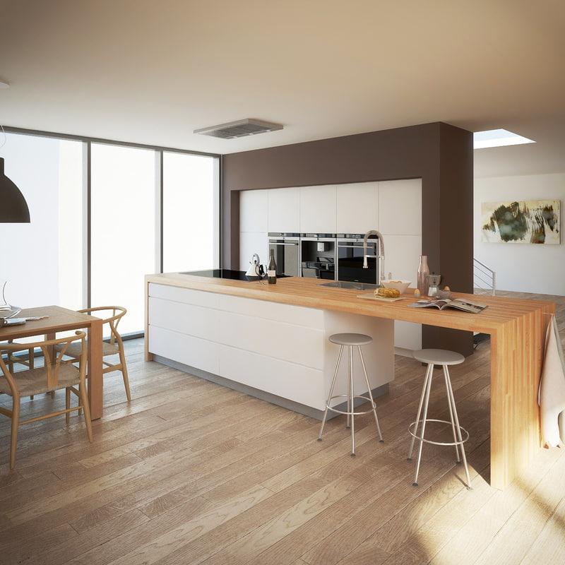 3d realistic modern kitchen interior model on Model Kitchens  id=25409