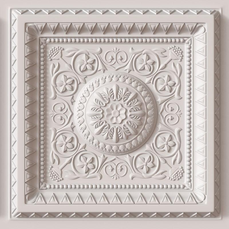 decorative ceiling tile 3d model on Tile Models  id=16941