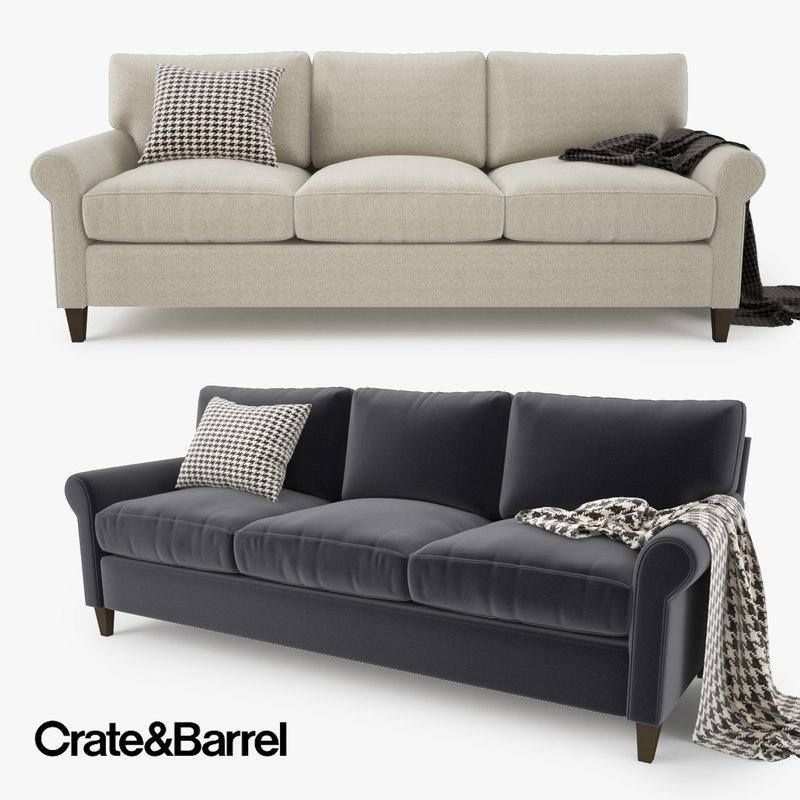 crate and barrel montclair 3 seat sofa