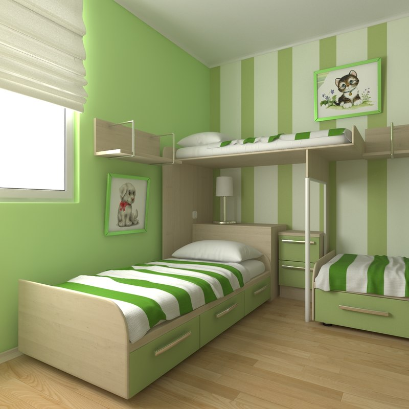 3d childrens bedroom design model on Model Bedroom Ideas  id=94938