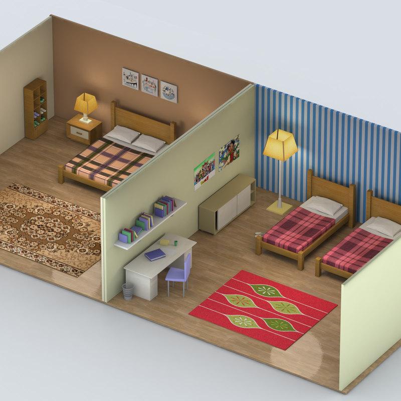 3d model bedroom bed room on Model Bedroom Design  id=72263