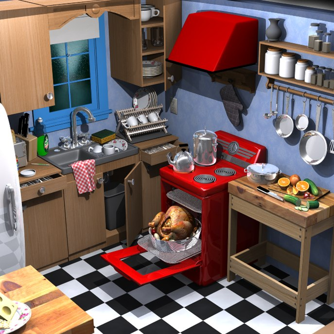 3d model of cartoon kitchen on Kitchen Model Images  id=34171