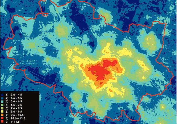 Rozkład temperatur w mieście podczas zimy