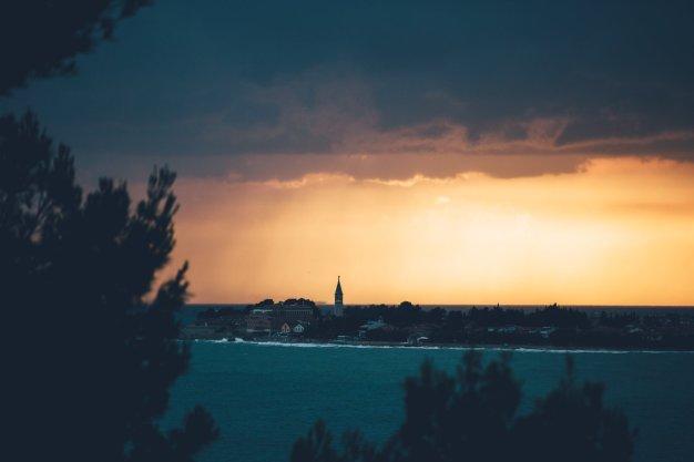 Blick vom Campingplatz Lanterna in Istrien