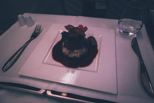 Steak on a plane