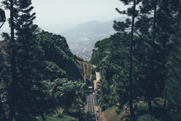 Aussicht von der Penang Hill Seilbahn Bergstation