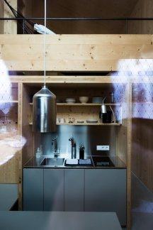 Blick in die Küche das Quartier Apartment