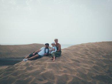 Unsere kleine Familie auf den Dünen von Maspalomas / Gran Canaria