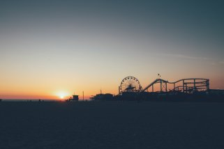 Santa Monica Peer bei Sonnenuntergang