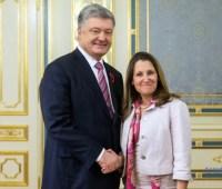 Фриланд-Порошенко: Ваша поддержка демократии и мирная передача власти являются памятными