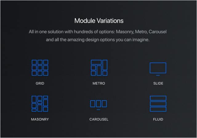 Grid, Masonry, Isotope, Metro, Carousel