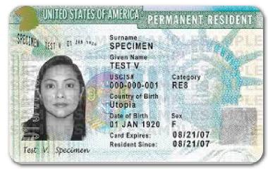 Ejemplo de Green Card