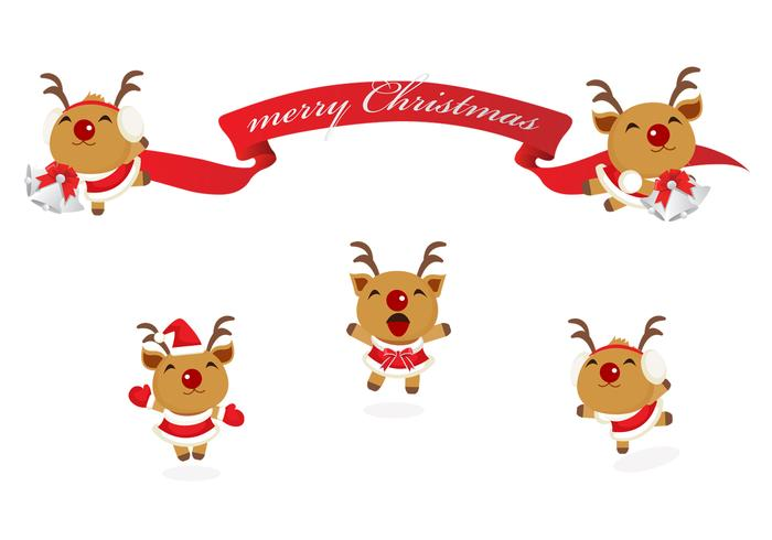 Happy Reindeer And Christmas Banner Vector Pack Download