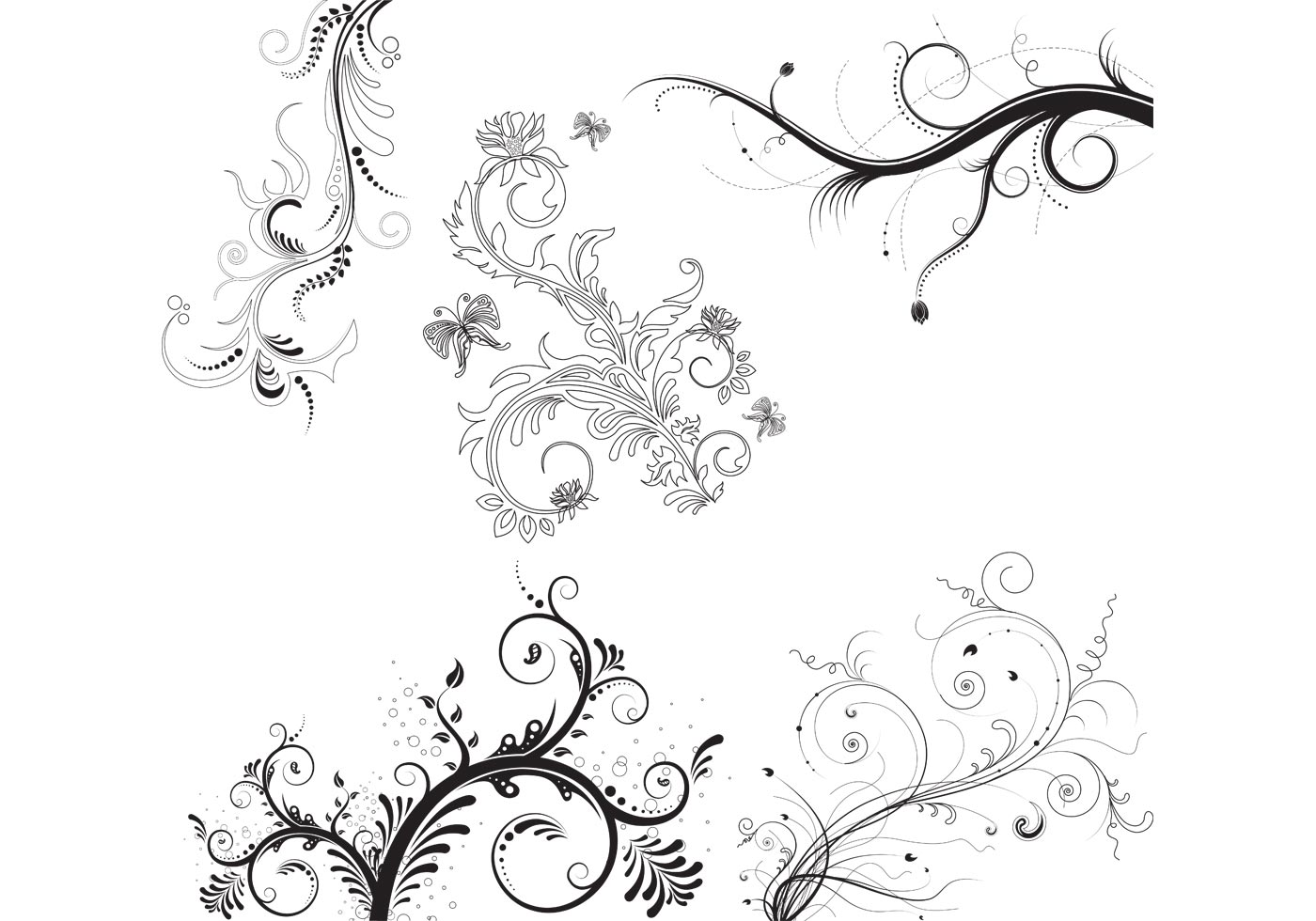 5 Floral Ornaments Download Free Vector Art Stock