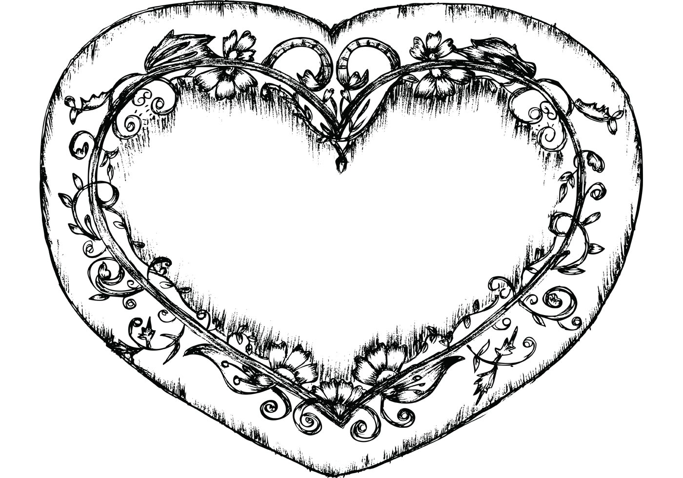 Lovely Sketchy Hand Drawn Heart Free Vector Illustration