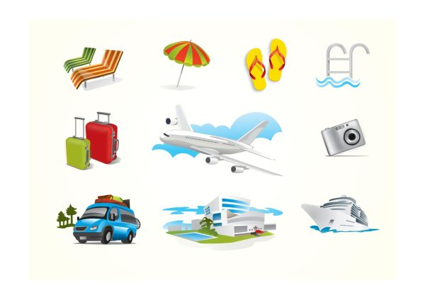 Holiday Travel Elements - Download Free Vector Art, Stock ...