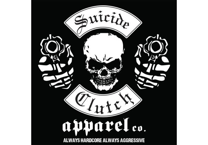 skull with gun vector tshirt design Black Fashion