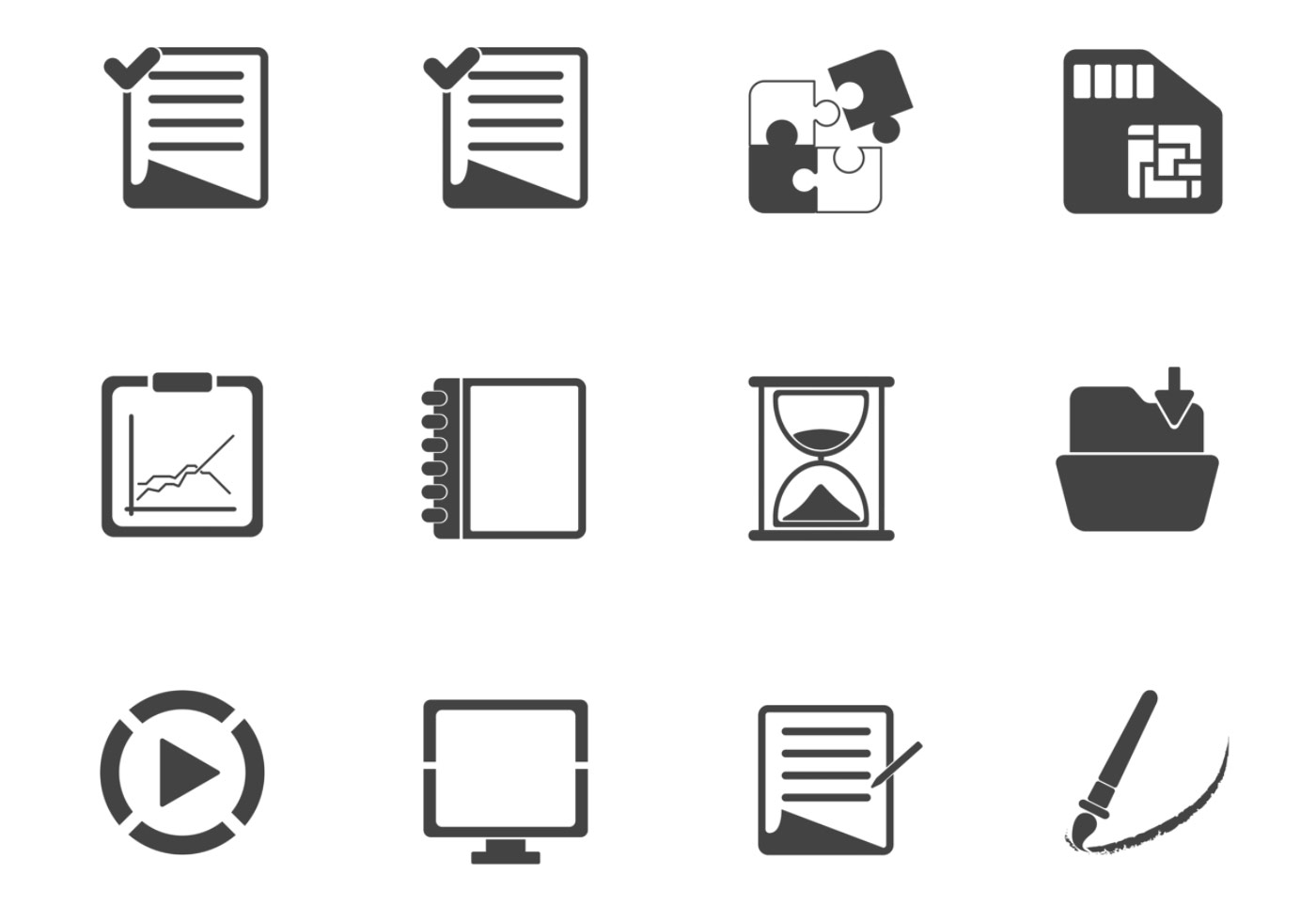 Charcoal Business Icon Vector Pack