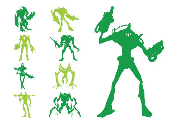 Alien Silhouettes Download Free Vector Art Stock