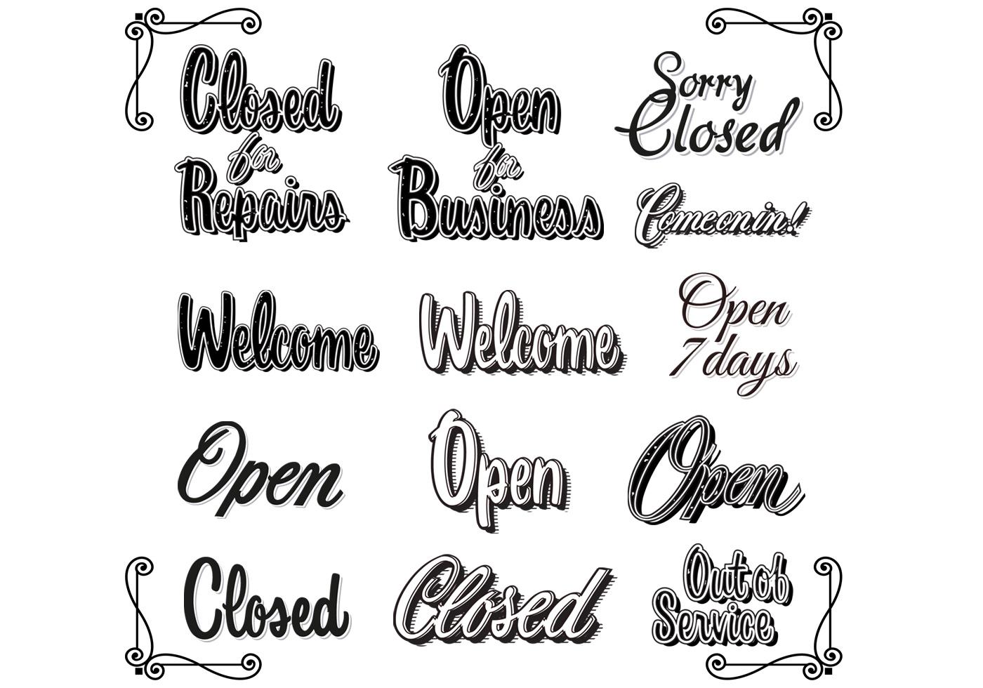 Retro Vintage Open Closed Sign Vectors
