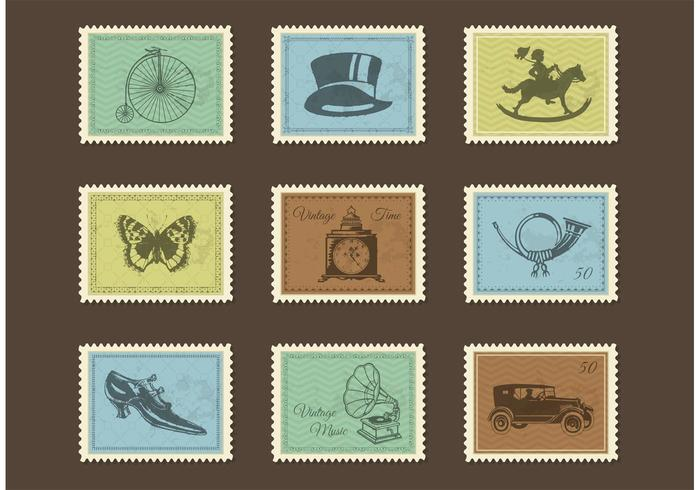 Free Vintage Post Stamps Vector Download Free Vector Art