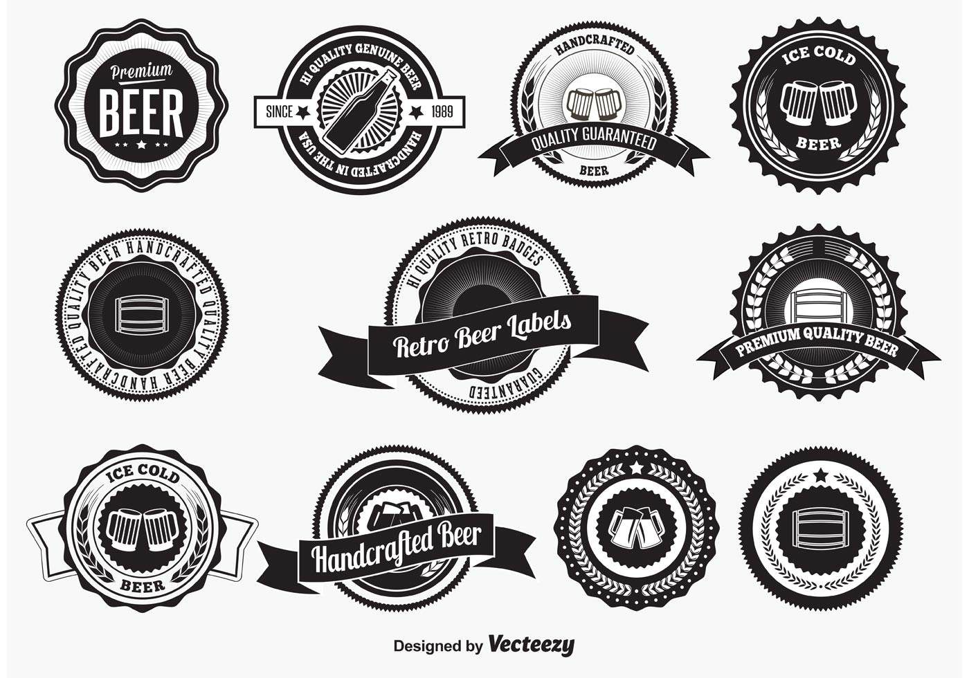 Retro Style Beer Badges And Labels