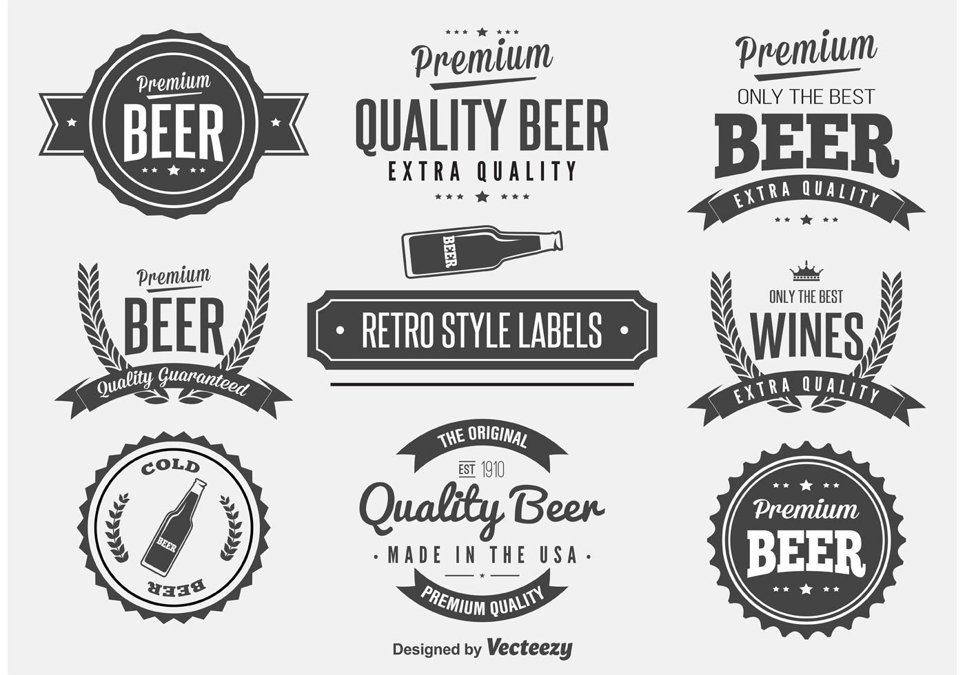 Retro Beer Label Vectors