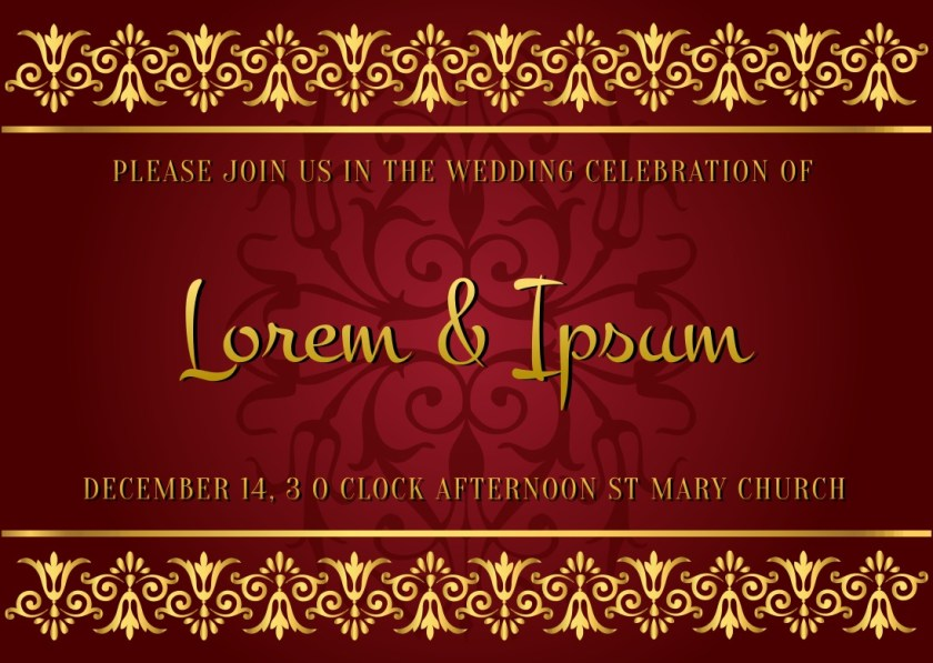Indian Style Wedding Card Free Vector Art Stock Graphics Invitation Templates