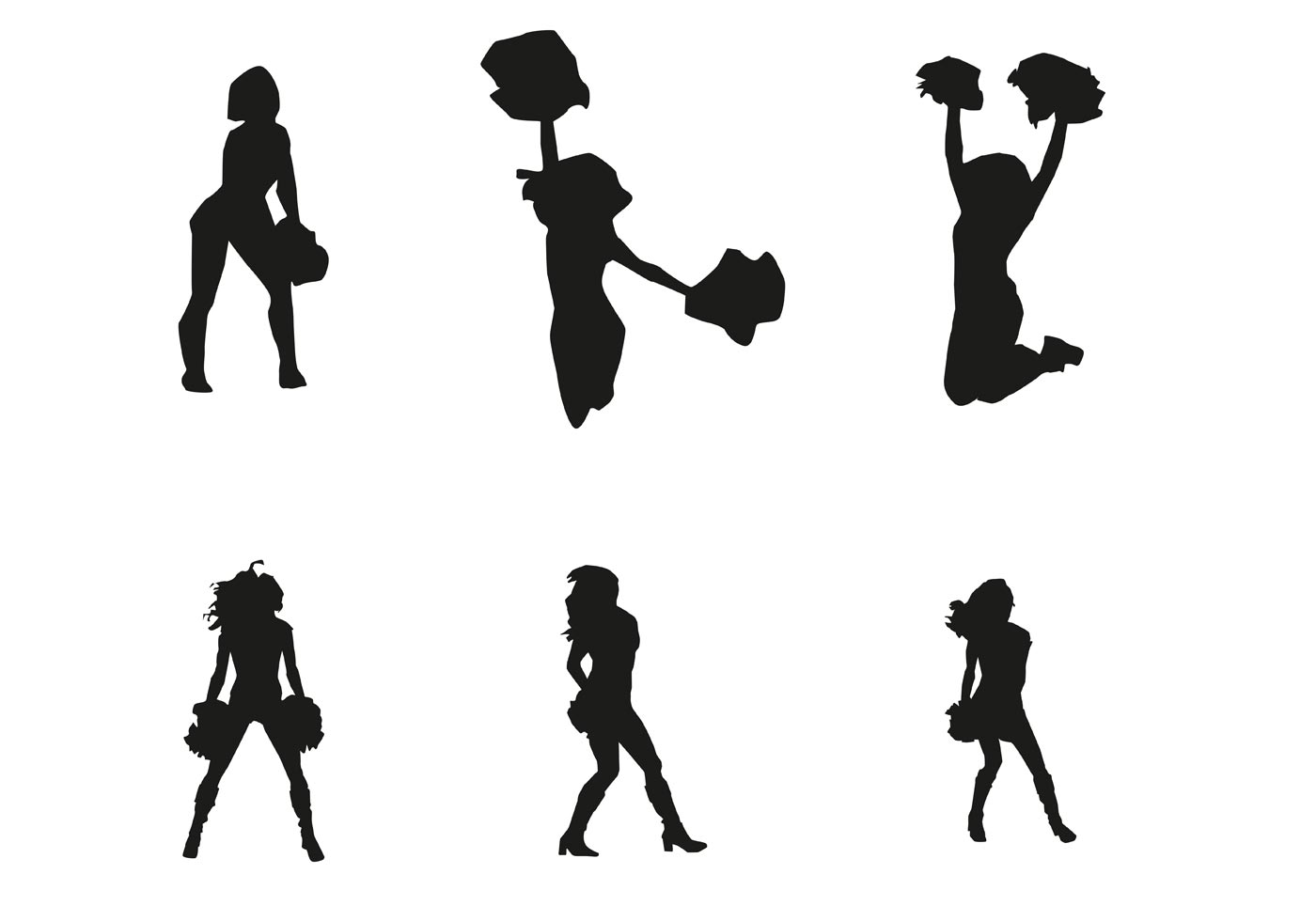 Vector Cheerleader Silhouettes