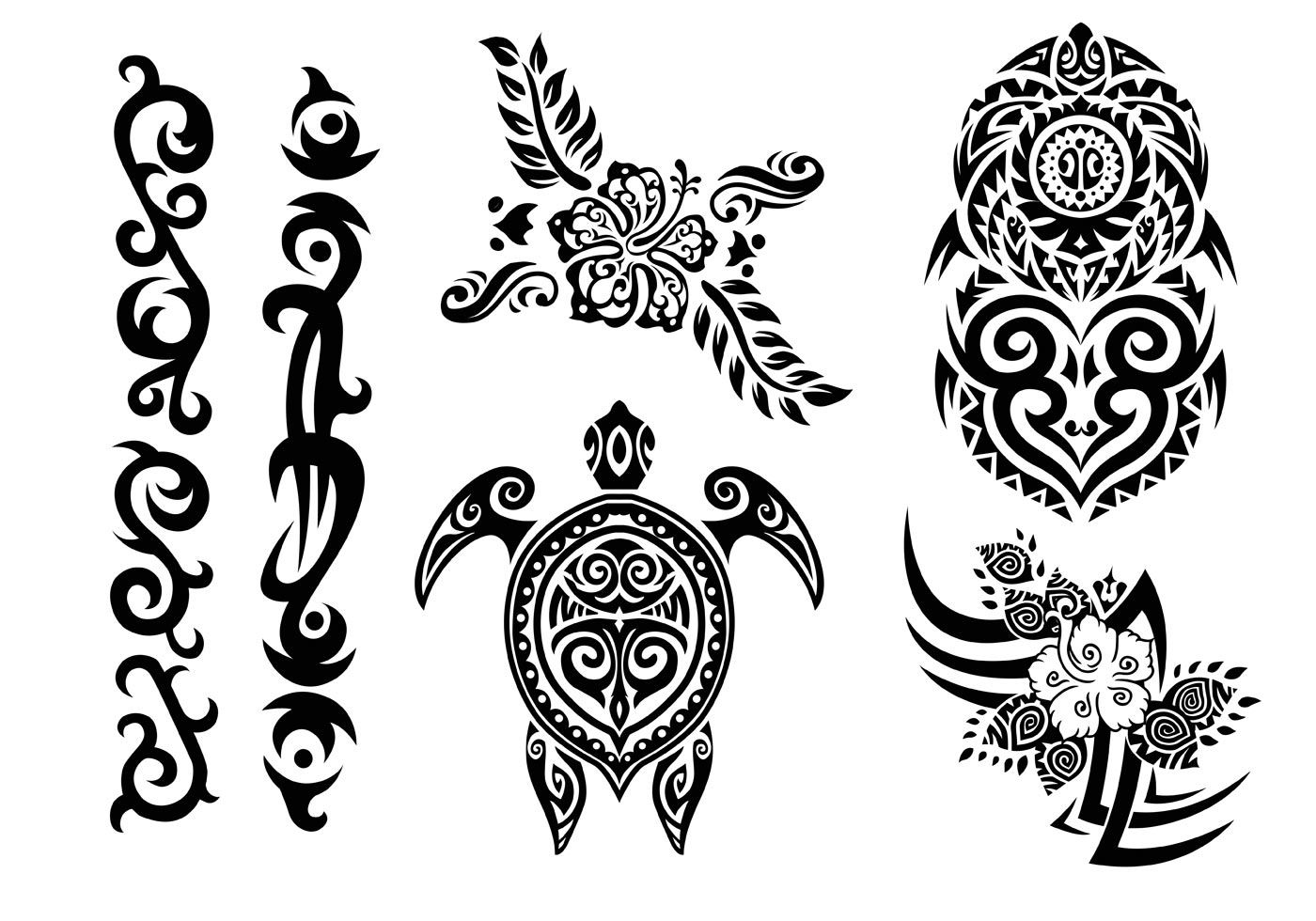 Hawaii Tribal Set In Black And White Download Free
