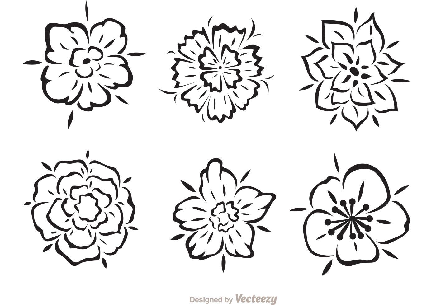 Hawaiian Tribal Flower Vectors