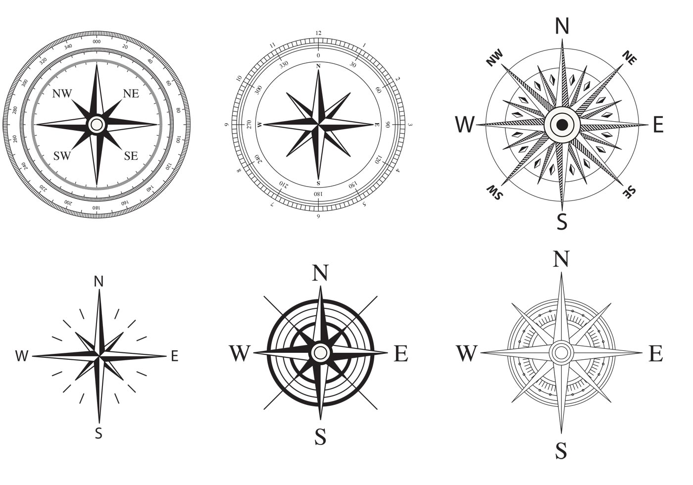 Wind And Nautical Compass Rose Vectors