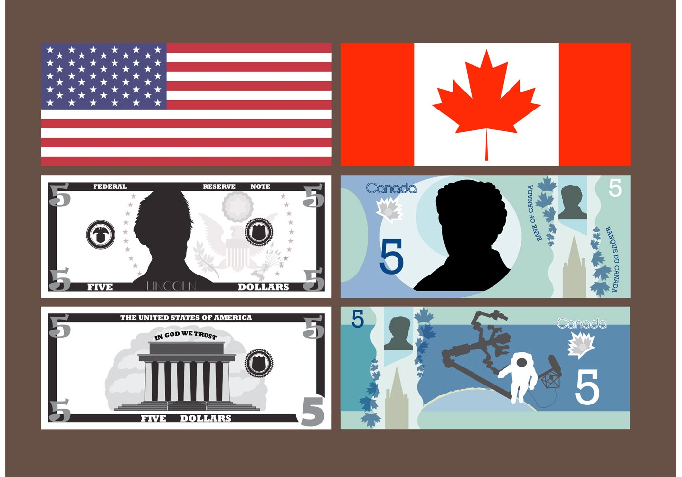5 Dollar Bill Vectors