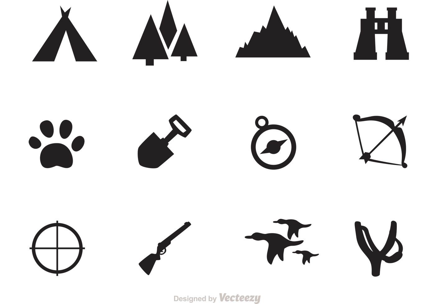 Camping And Hunting Icon Vectors